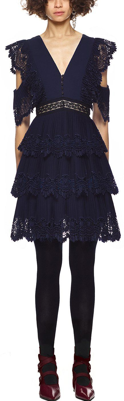 Tiered Pleated Embroidery Mini Dress