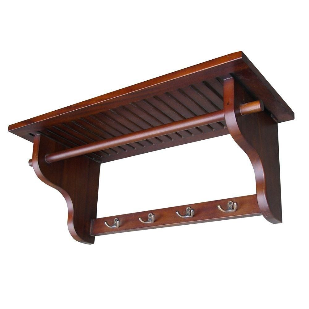 Mahogany Wall Mounted Coat Rack Dwh001 The Home Depot Wooden Coat Rack Wall Mounted Coat Rack Wall Hanger