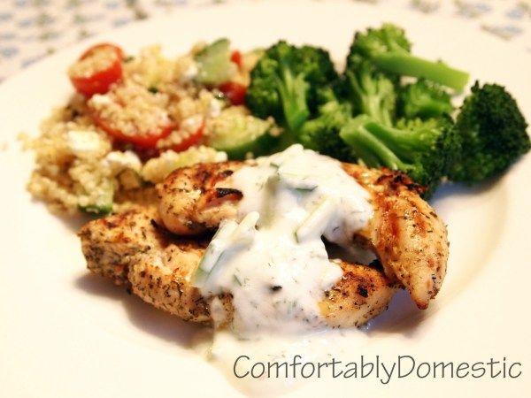 Mediterranean Grilled Chicken w/ Homemade Tzatziki Sauce