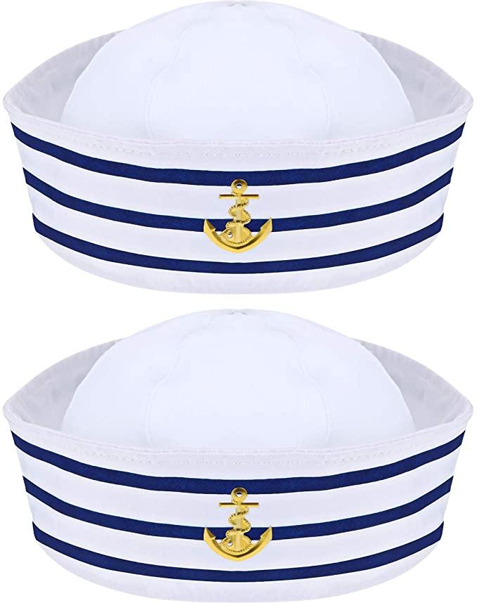 Amazon Com 2 Packs Sailor Hat Captain S Hat Blue With White Sailor Hat For Costume Accessory Clothing Sailor Hat Captain Costume Sailor Costumes