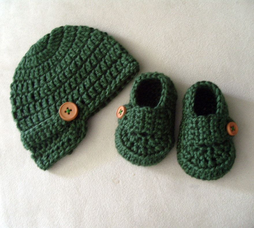 Baby Newsboy Button Beanie Hat and Shoes Loafers Baby Boy