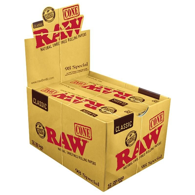 Raw Classic 98 Special Pre Rolled Cones 12 Count Box 20 Pack Cones Rolls Rolling Paper