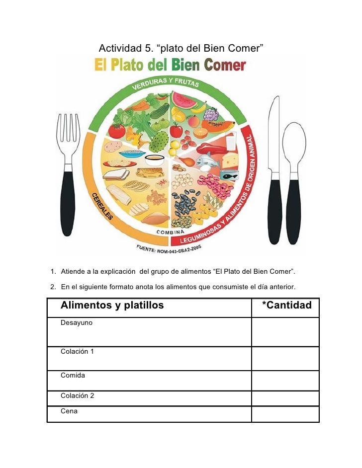 Actividad 5 Plato Del Bien Comer 1 Atiende A La Explicación Del Grupo De Ali Plato Del Bien Comer Alimentación Saludable Para Niños Actividades De Nutrición