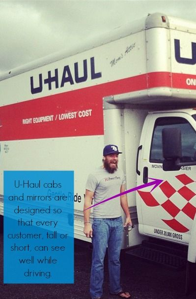 Did You Know That U Haul Cabs And Mirrors Are Designed So Any Size Customer Tall Or Short Can See Well Movingday Movingtru U Haul Truck Moving Truck Haul