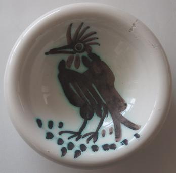 ce47bfed06c Pablo PICASSO Oiseau avec une crète Céramique originale Cendrier   Coupelle  en terre de faïence blanche