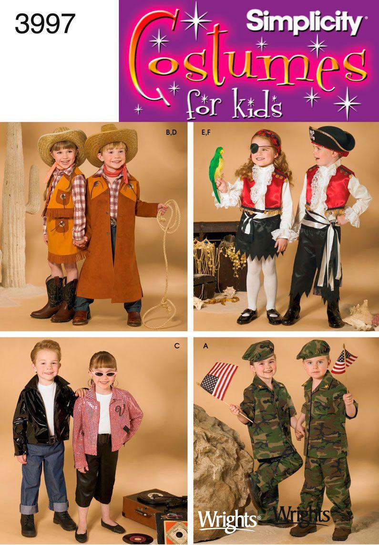 Child Cowboy Pirate Costume Sewing Pattern 3997 Simplicity  sc 1 st  Pinterest & Child Cowboy Pirate Costume Sewing Pattern 3997 Simplicity ...