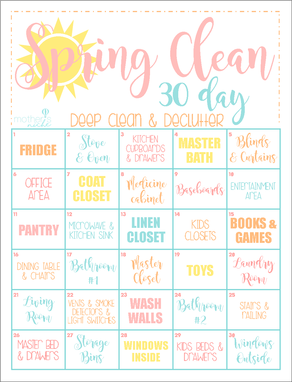 A Fun Way To Deep Clean Your Home In 30 Days Use This Day Spring Cleaning Schedule Guide And Motivate You House Within The Next Month