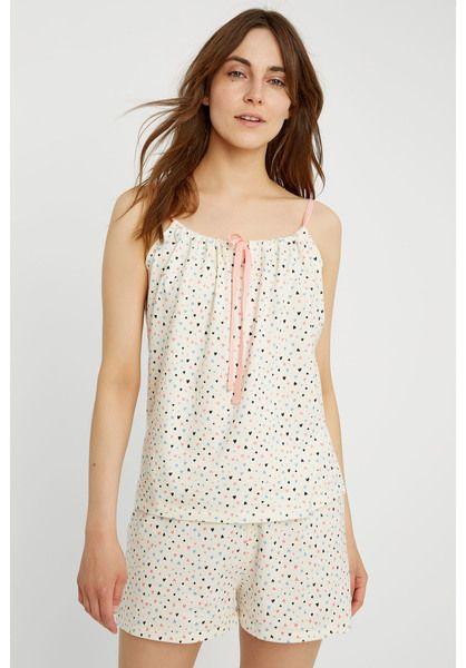 People Tree Pyjama Top - Heart Print Camisole