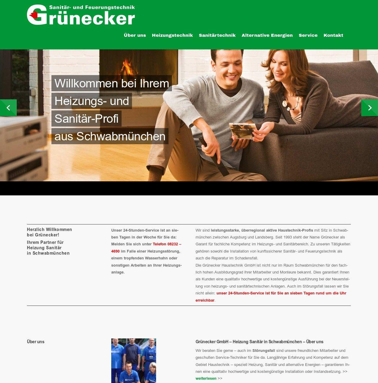 WordPress site gruenecker-haustechnik.de uses the Salient best ...