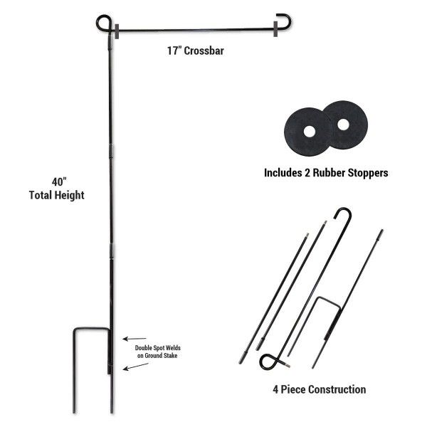 Our Garden Flag Stand And Stopper Set Is A Powder Coated Steel Garden Flag Pole Set Which Include 2 Large Rubber Garden Flag Pole Garden Flag Holder Flag Stand