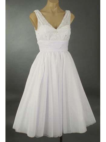 50\'s Inspired White Tulle Full Skirt Tea Length Party Dress ...