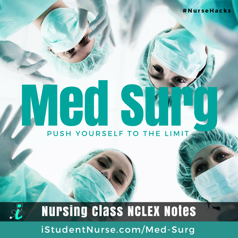 more photos 78e28 6417d Medical-Surgical Nursing NCLEX Study Notes  Covers the major topics that  nursing students master in Med-Surg Class. Articles address pathophysiology  ...