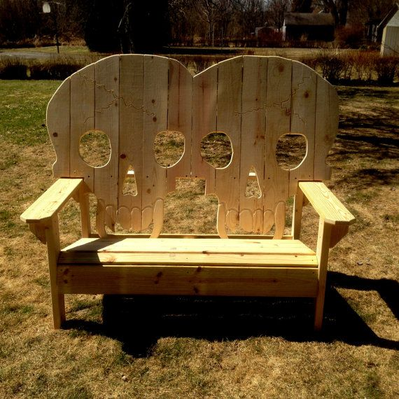 Double king size wooden skull bench, skeleton , skulls with fangs