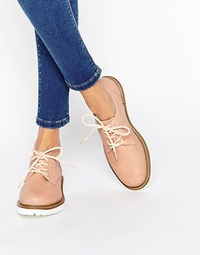 Bronx Nude Brogue Flat Shoes  5e72d70e8ff