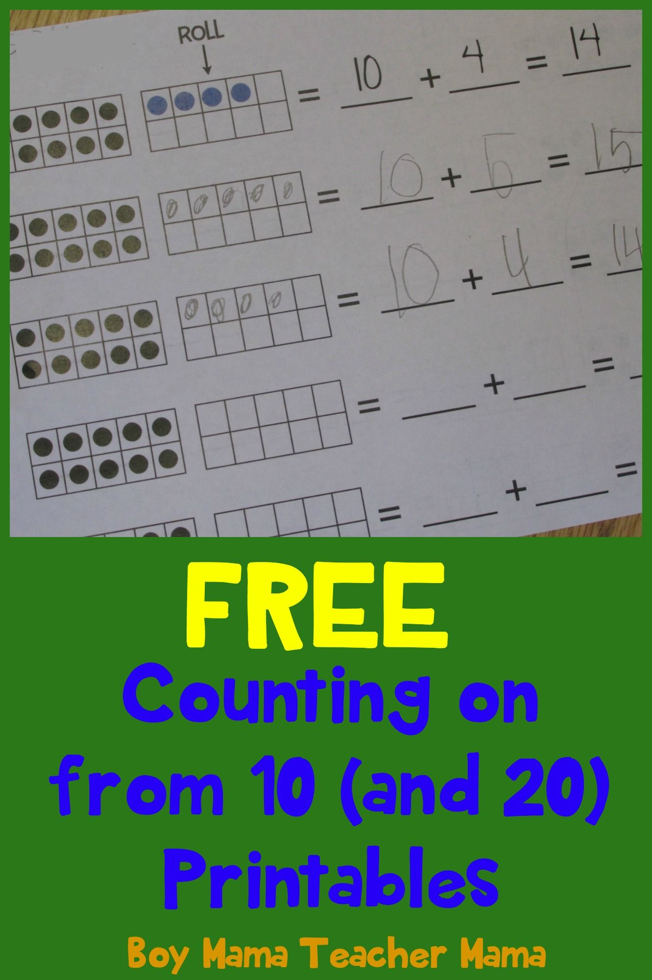 Teacher Mama Free Counting On From 10 And 20 Printables After School Linky