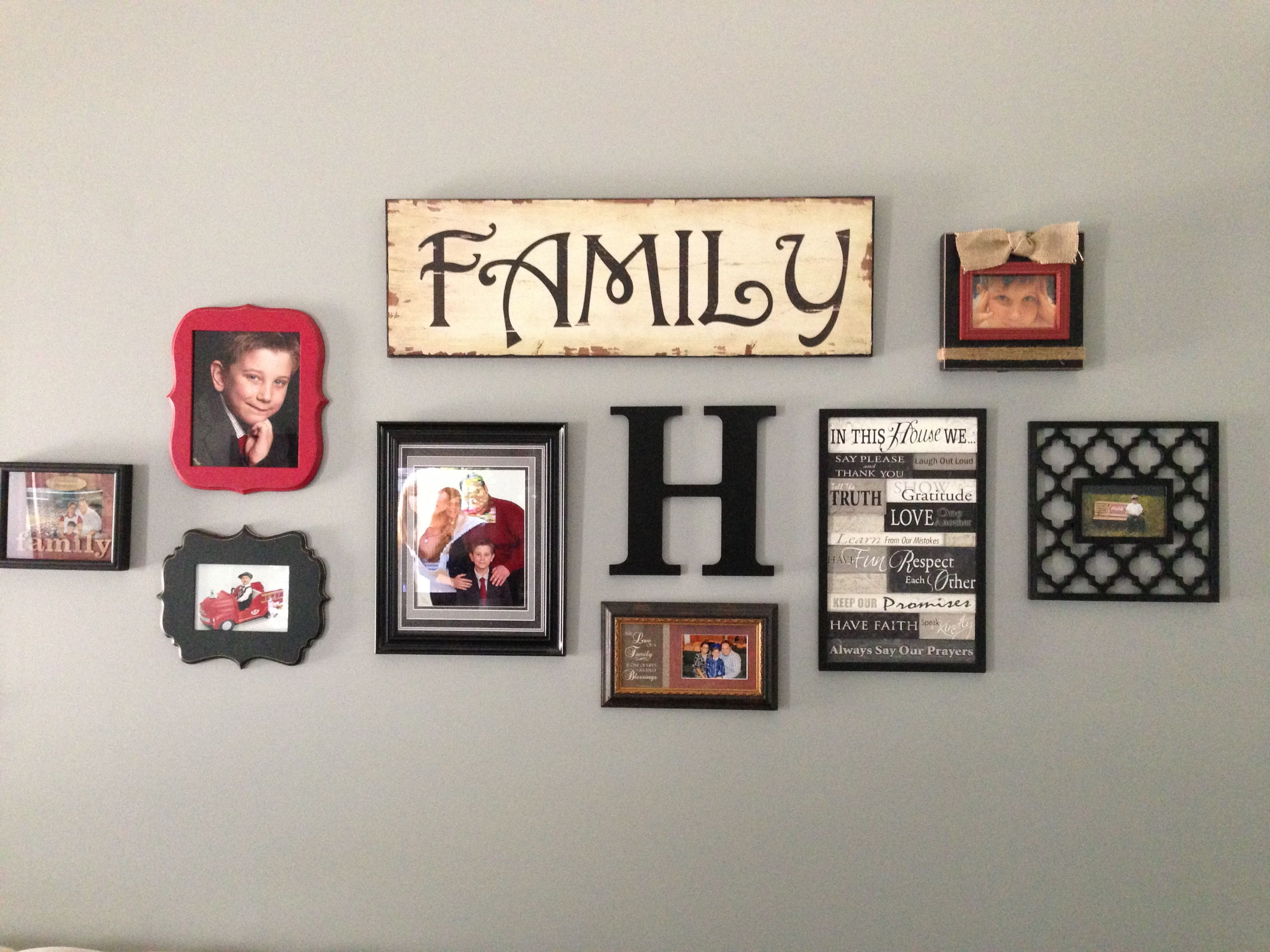 wall collage i have this family sign hobby lobby i just need to
