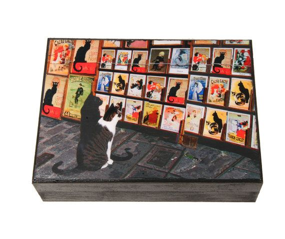 Cat Keepsake Box Chat Noir Wooden Keepsake Box by DeborahJulian