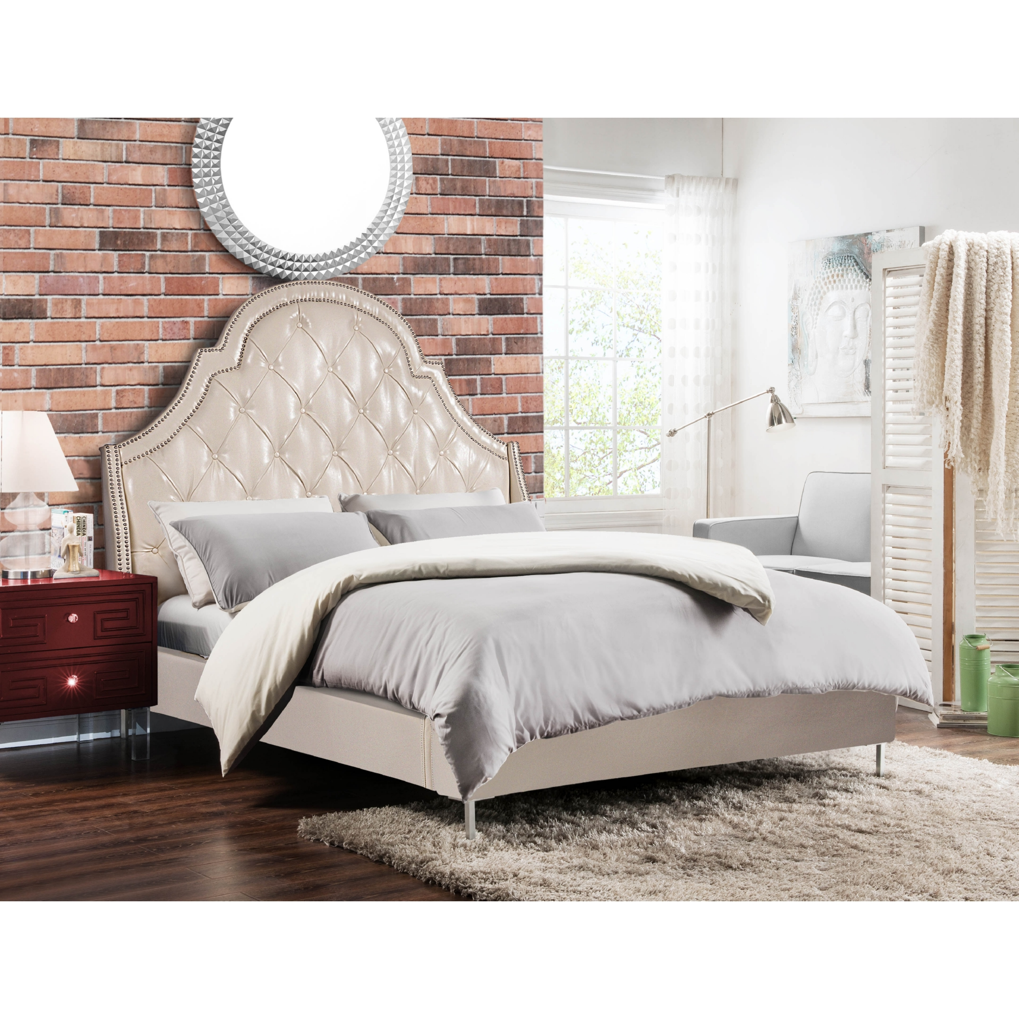 Chic Home Bd16 13cm Q1 Dr Napoleon Arched Queen Bed Tufted Cream
