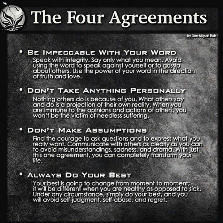 The 4 Agreements Words Pinterest Motivational