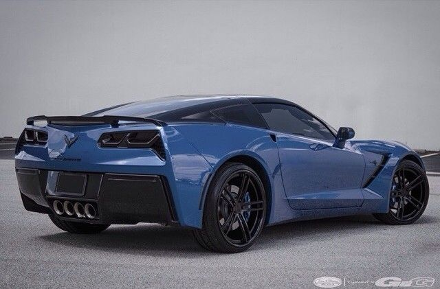 Blue Chevy Corvette Stingray With Custom Gloss Black Gfg Wheels Vinyl Wrap In The Roof And Smoked Tail Lights Corvette Stingray Chevy Corvette Corvette