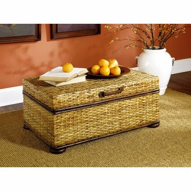 Beautiful Hammary Hidden Treasures Woven Rattan Trunk Coffee Table In Light  Distressed Finish
