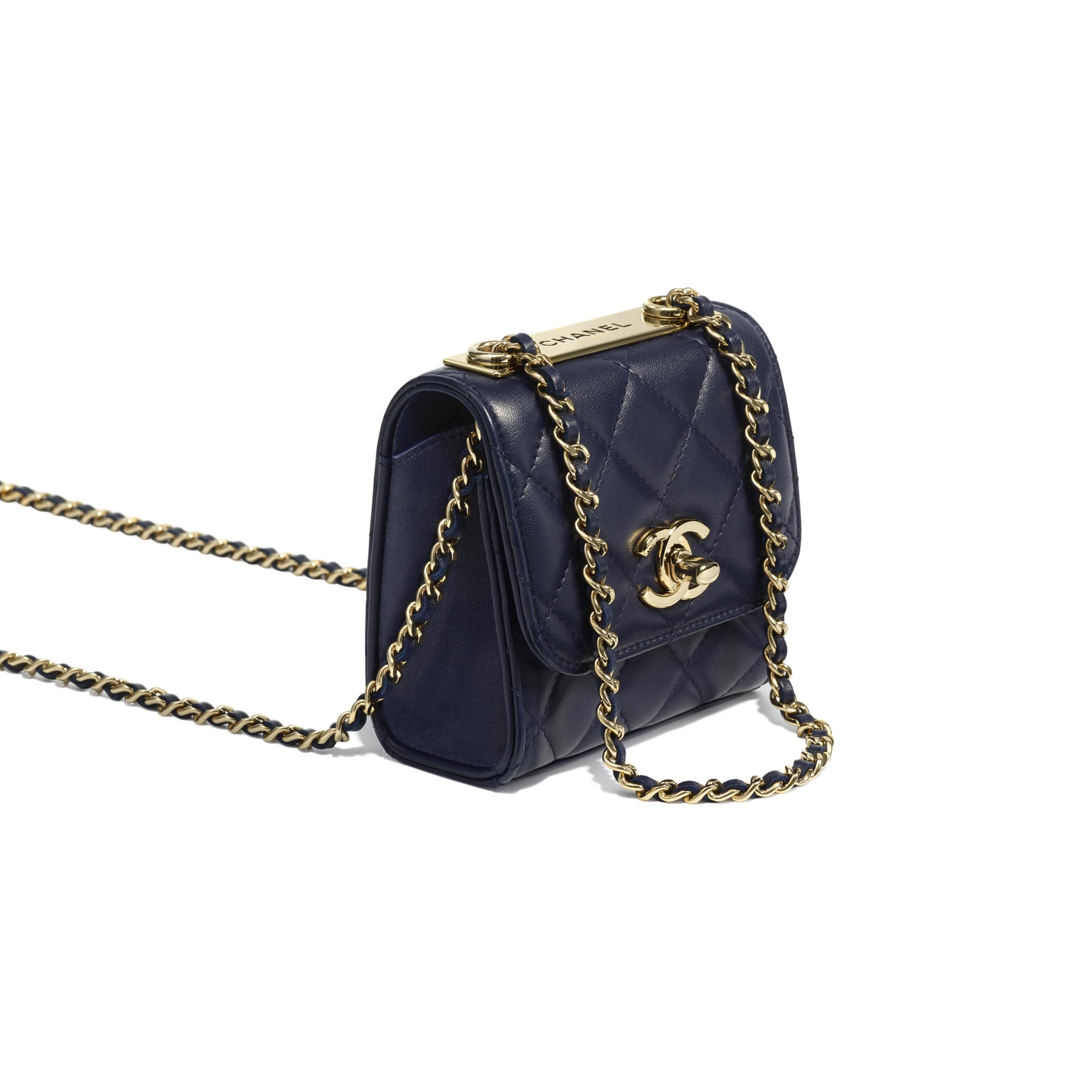 2c9a8faa5deb Lambskin   Gold-Tone Metal Navy Blue Clutch with Chain