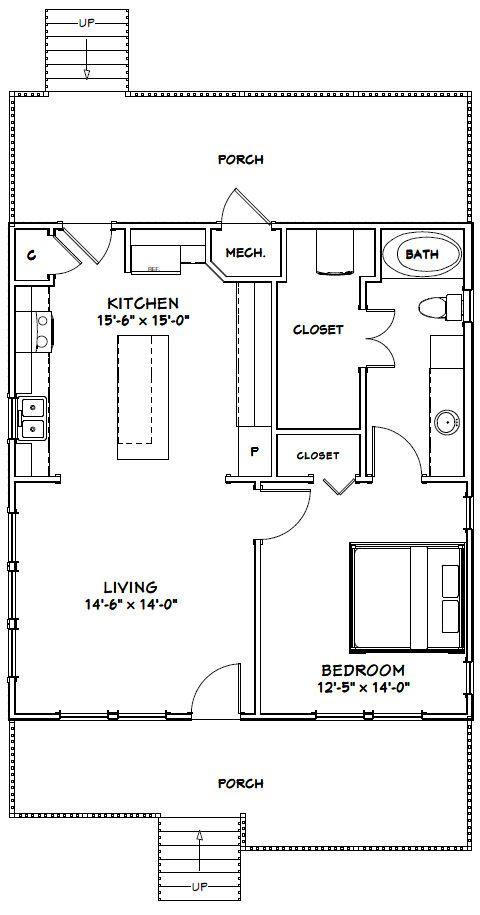 28x30 House 28x30h1b 840 Sq Ft Excellent Floor Plans Tiny House Floor Plans Floor Plans Granny Pod