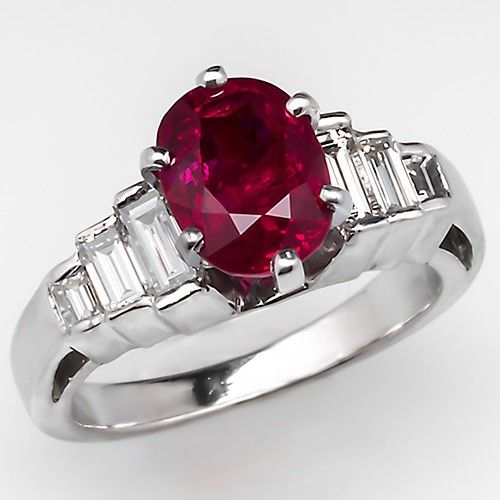 Vintage Ruby Engagement Ring W Baguette Diamond Accents Platinum