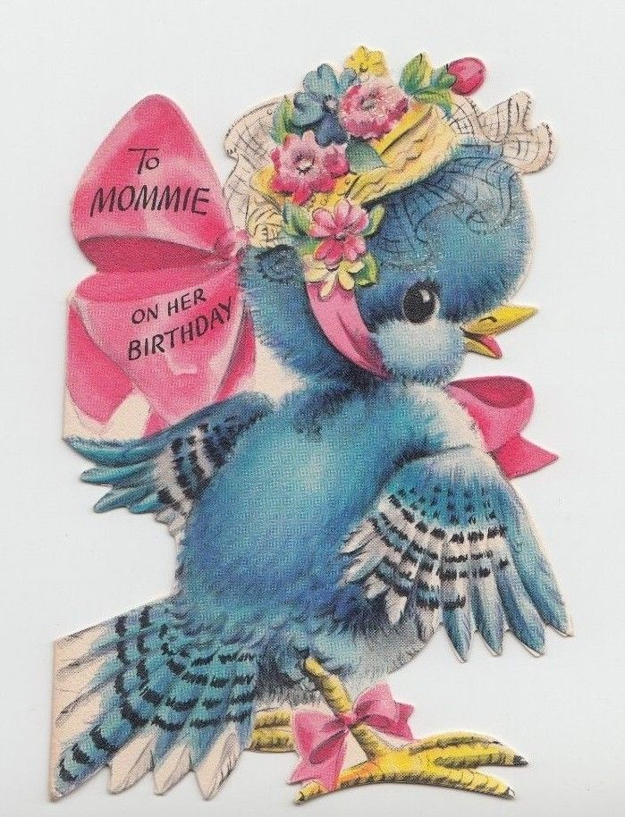 Unused cute little bluebird with glittered bonnet vintage birthday unused cute little bluebird with glittered bonnet vintage birthday greeting card m4hsunfo Image collections