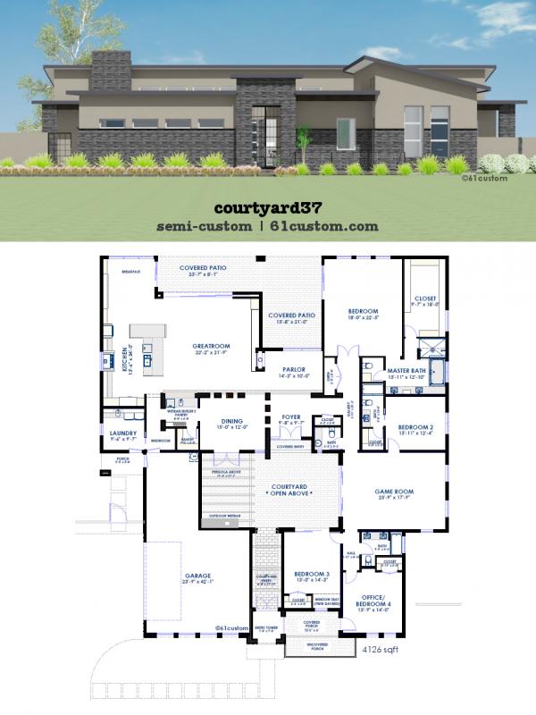 Semi Custom Contemporary Courtyard House Plan 61custom
