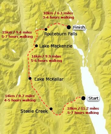 New Zealand Mountains Map.The Grand Traverse New Zealand Map Of The Hike Through The