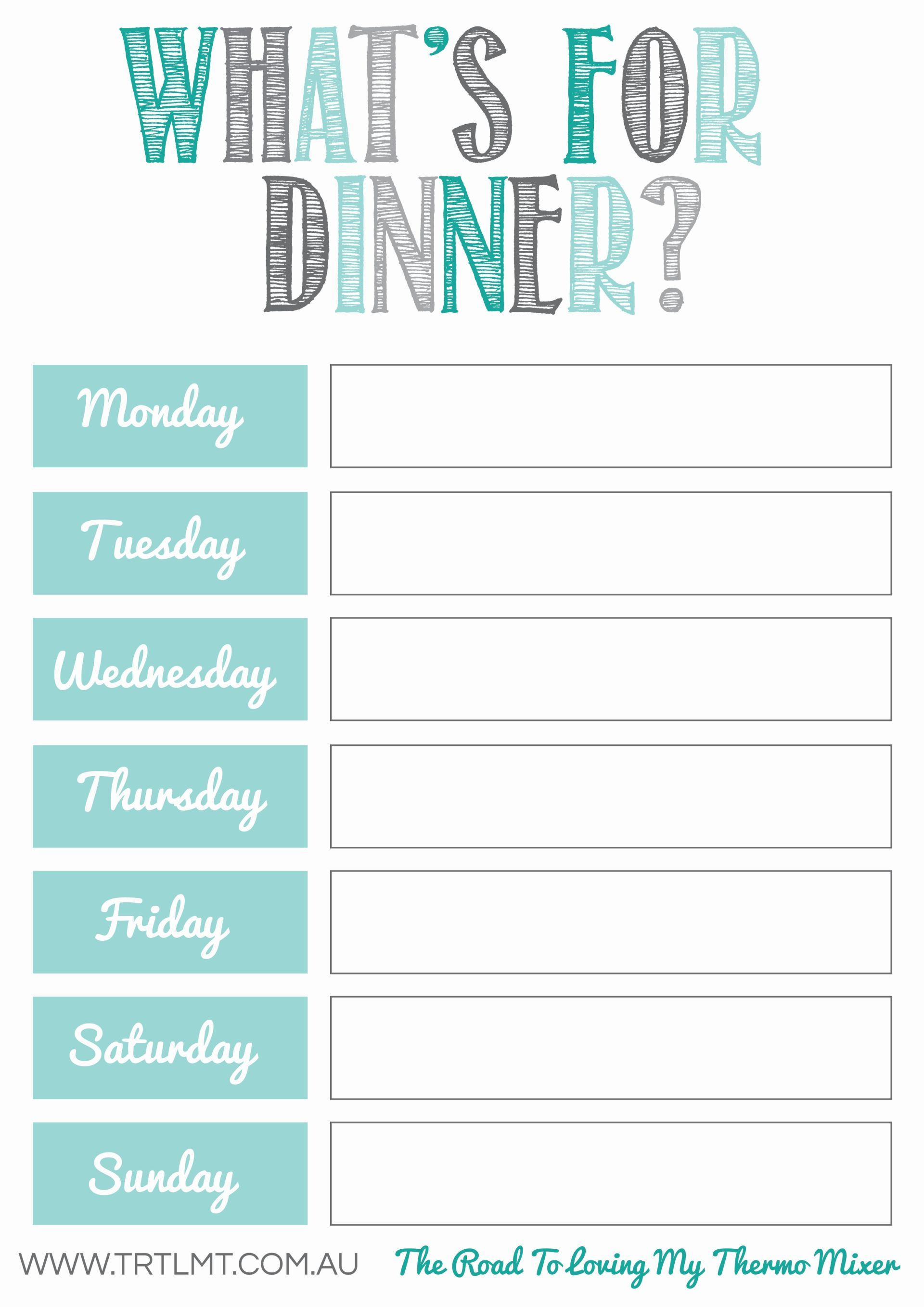 Monthly Meal Planning Worksheet Printable