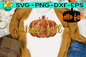 Hello Fall Pumpkin SVG DXF EPS PNG Hello autumn
