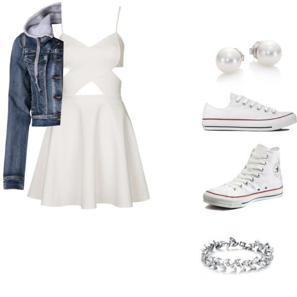 Feeling cute by navigirl2 on Polyvore featuring polyvore fashion style Topshop Converse Mikimoto