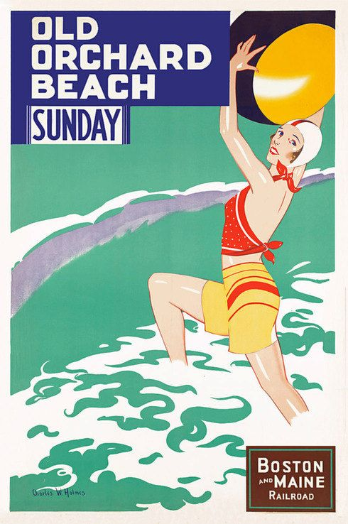 Old Orchard Beach Boston /& Maine Vintage Railroad Travel Advertisement Poster