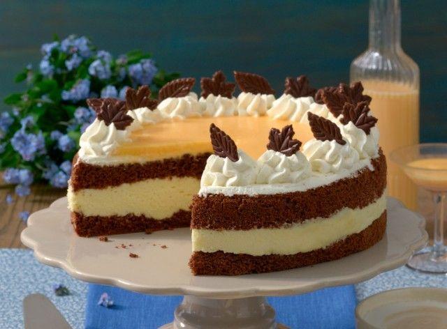 Photo of Delicious chocolate egg liqueur cake with cream