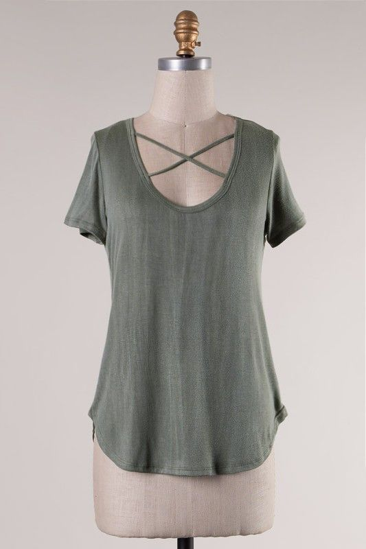 Distressed Short Sleeve Strappy Tee (Olive)