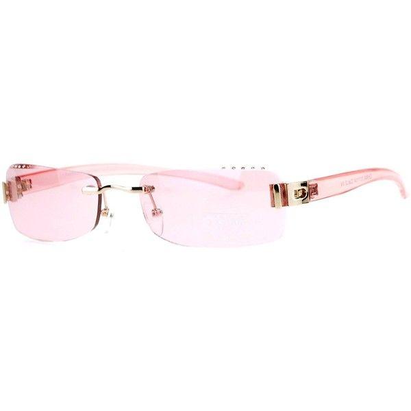 Womens Rimless Sunglasses Rectangular Frame Rhinestone