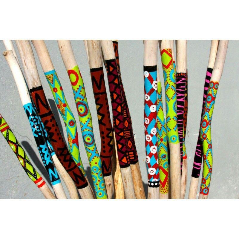 Painted sticks stick art wood hiking stick painted sticks