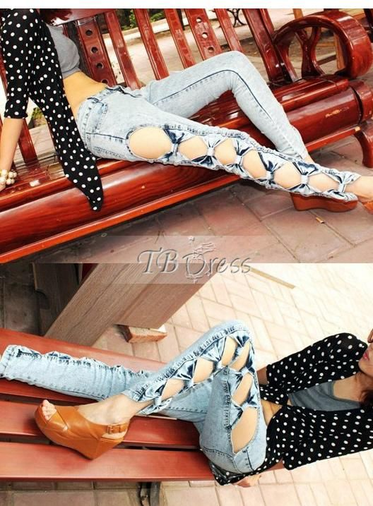 Vogue Korean Style Bow Knot Jeans : Tbdress.com
