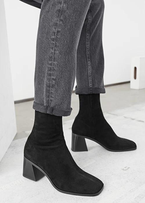 Geometric Heel Suede Sock Boots in 2020