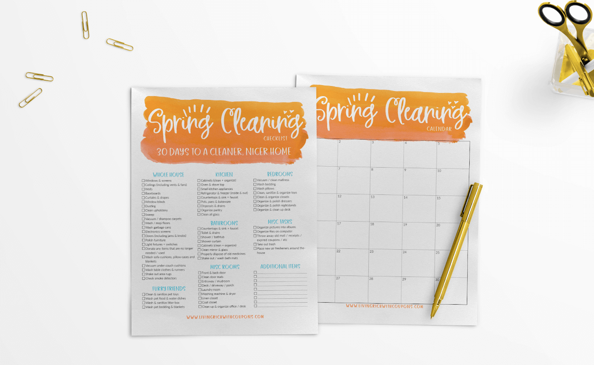 Free Spring Cleaning Checklist, Calendar & Tips {Download