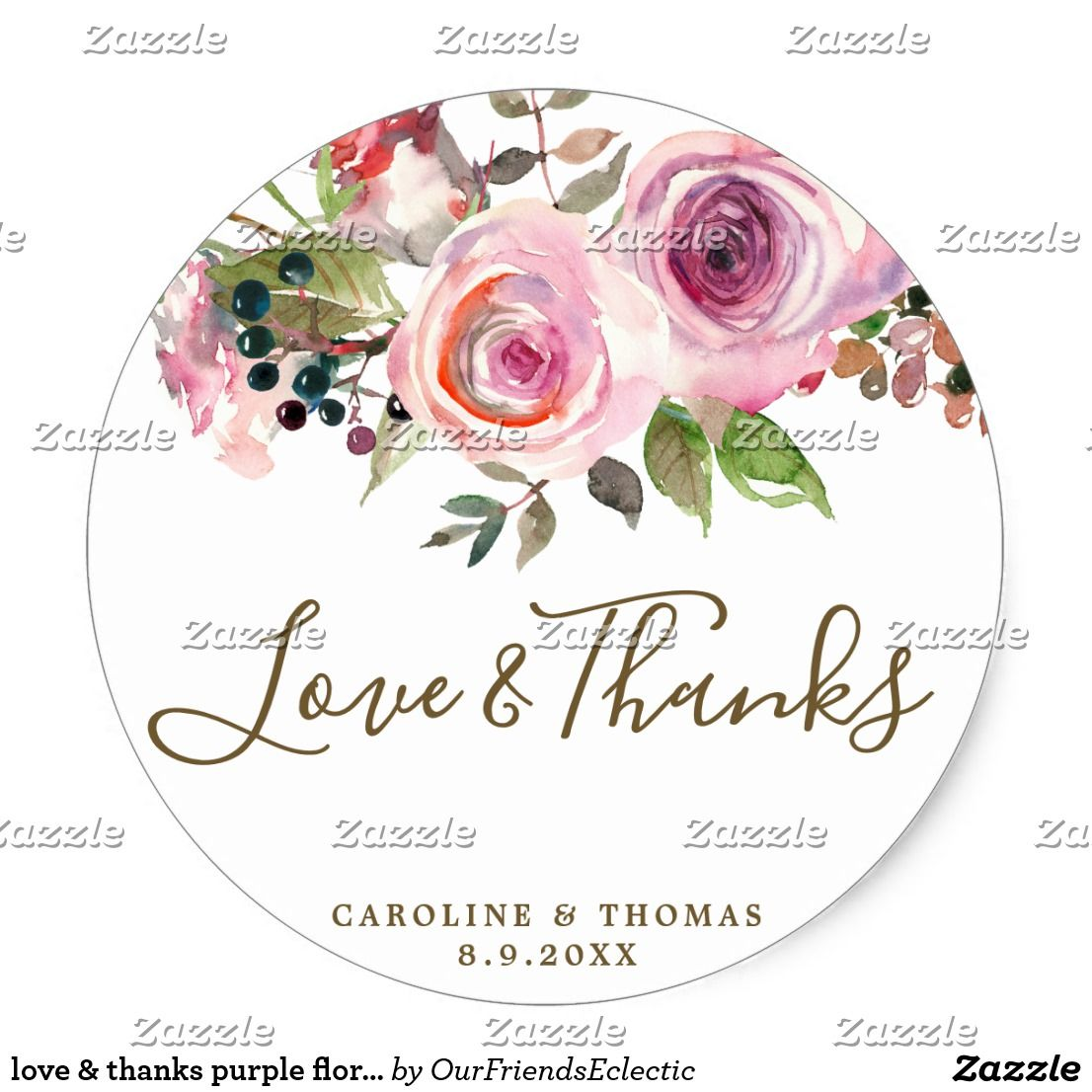 love & thanks purple floral wedding favors sticker | Favor/Favour ...