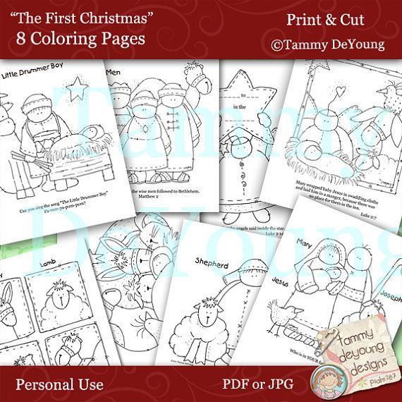 Nativity Christmas Coloring Pages With Baby Jesus Digital Easy To Make Your Own