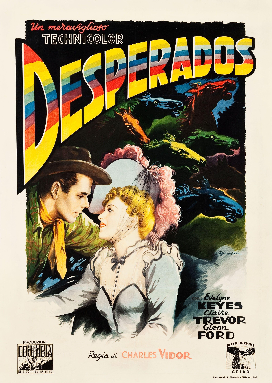 The Desperados Charles Vidor 1943 Italian 2 Foglio Design By Anselmo Ballester Old Film Posters Movie Posters Vintage Movie Posters