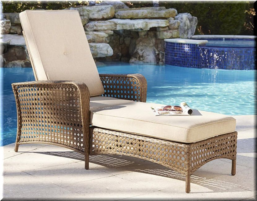 Outdoor Chaise Lounge Chair Woven Resin Brown Patio Deck Pool