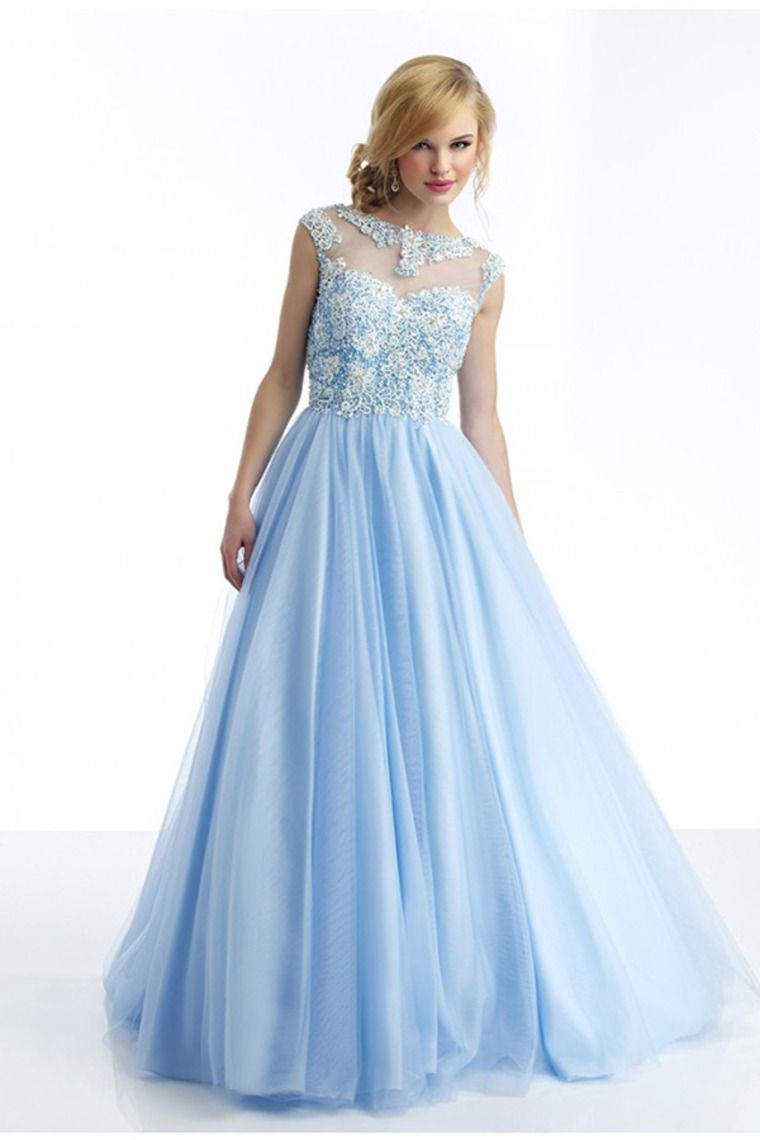 2014 Beautiful Scoop A Line Prom Dress Beaded Floor Length Pick Up ...