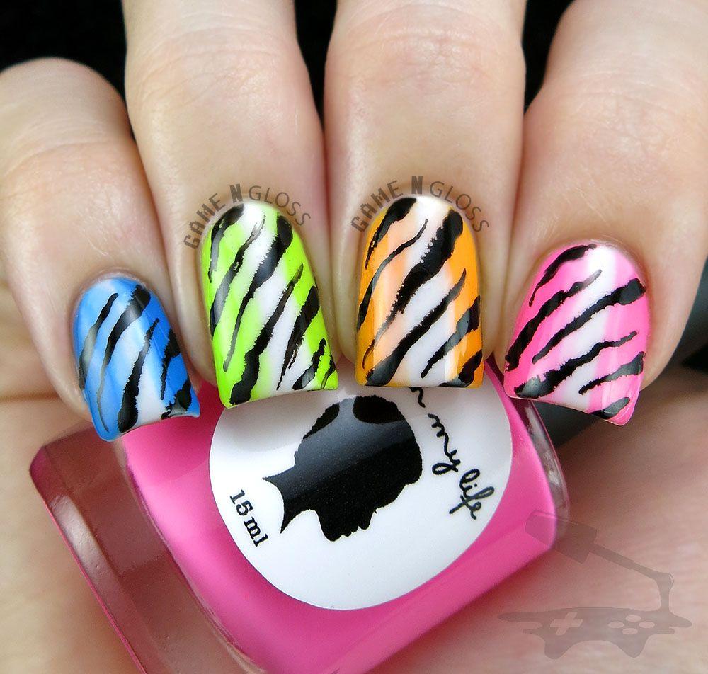 Neon rainbow animal print nail design for summer ig gamengloss