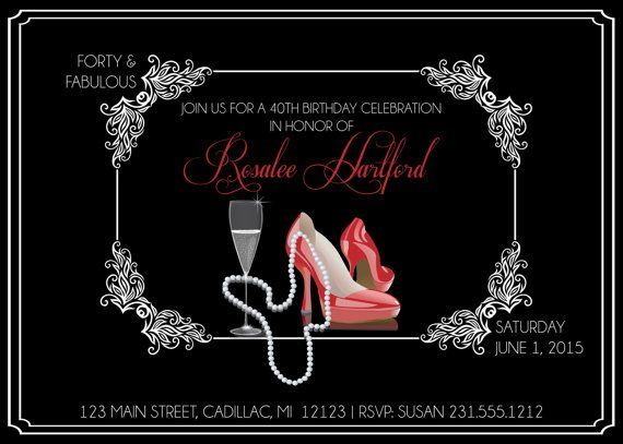 Ladies 40th Birthday Invitation • Adult Forty & Fabulous ... - photo#9