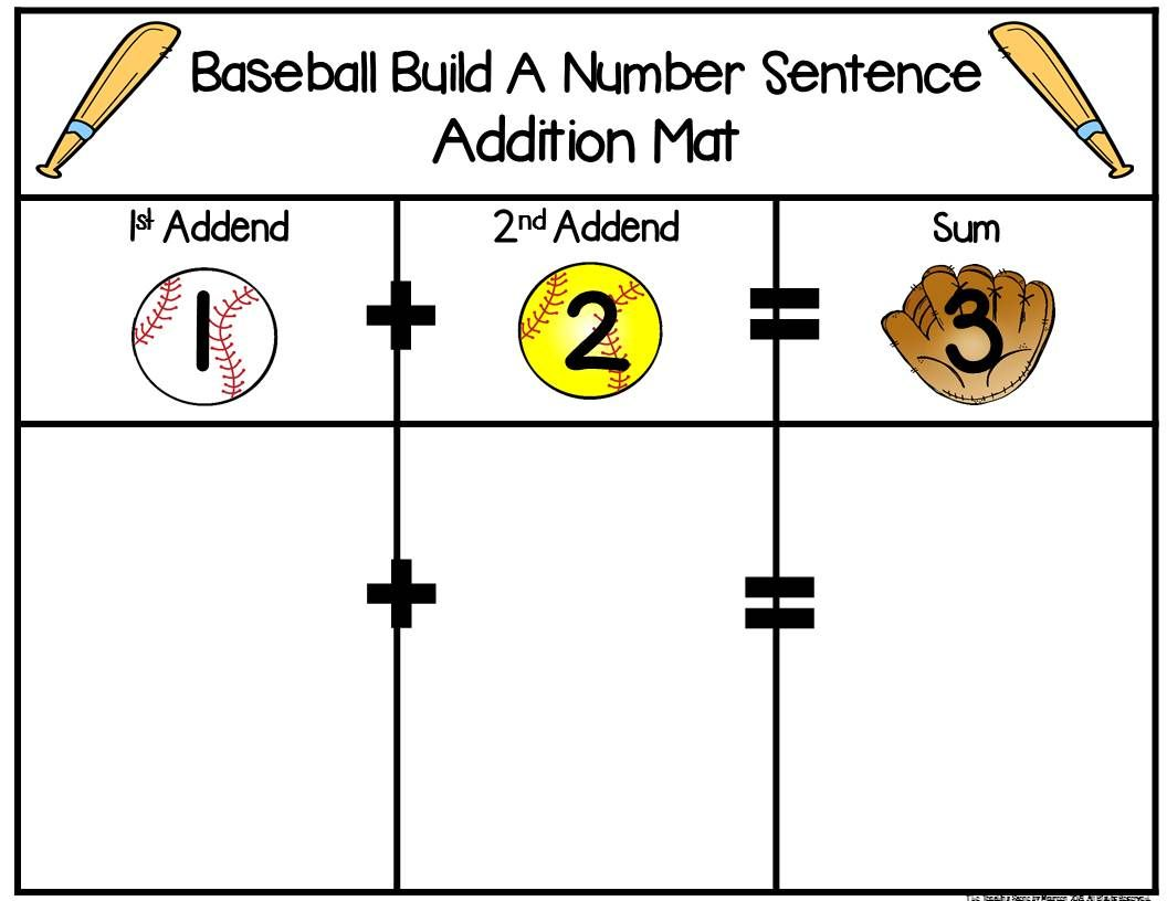 Baseball Build 2 Addend 0 20 Addition Amp Subtraction Number